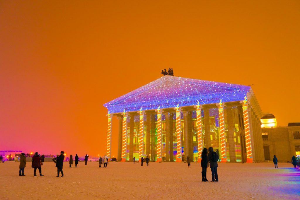 Astana Opera Nursultan Kazakhstan during New Years lights